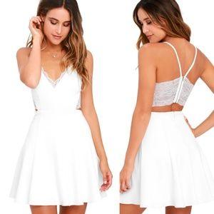 Lush Perfect Evening Ivory Lace Skater Dress XS